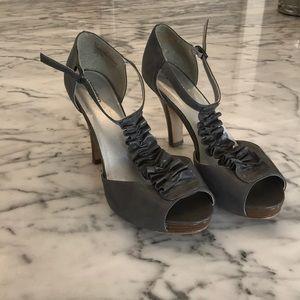 grey ruffle heels
